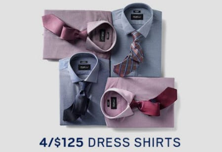 4 for $125 Dress Shirts from Men's Wearhouse