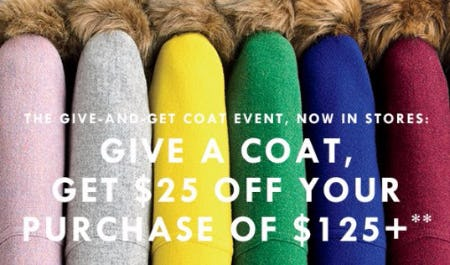 Give a Coat, Get $25 Off Your Purchase of $125+