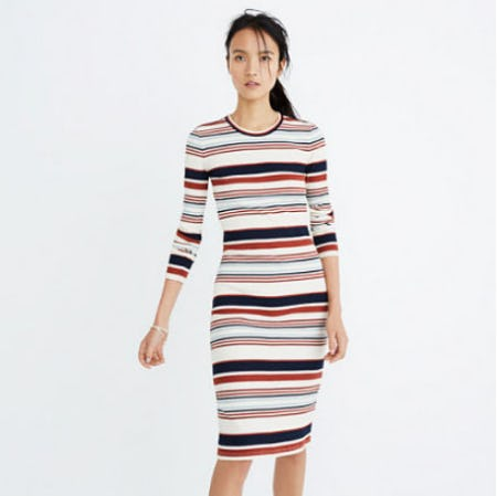 Ribbed Long-Sleeve Midi Dress in Multistripe from Madewell