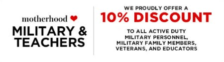 Military & Teachers 10% Discount