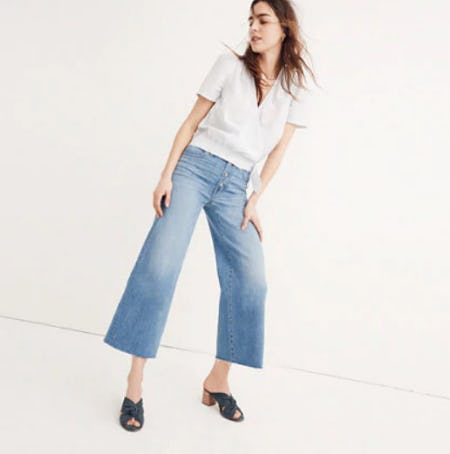 Wide-Leg Crop Jeans: Button-Front Edition from Madewell
