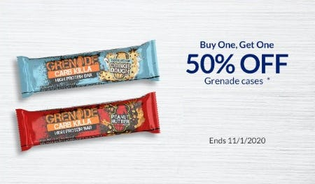 BOGO 50% Off Grenade Cases from The Vitamin Shoppe