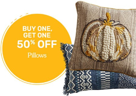 BOGO 50% Off Pillows from Pier 1 Imports