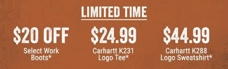 $20 Off Select Work Boots, $24.99 Carhartt K231 Logo Tee & More from Boot Barn Western And Work Wear