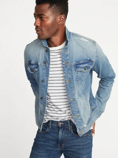 Distressed Denim Trucker Jacket for Men from Old Navy