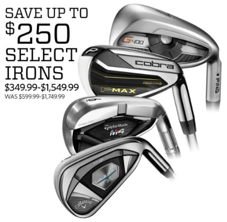 Save Up to $250 on Select Irons from Golf Galaxy