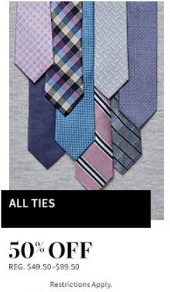 50% Off All Ties from Jos. A. Bank