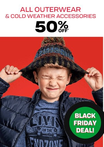 50% Off All Outerwear and Cold Weather Accessories
