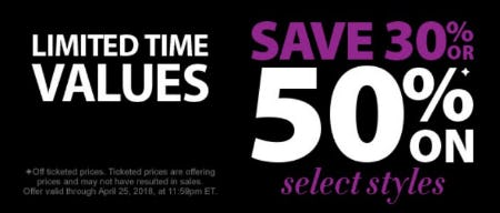 Save 30% or 50% on Select Styles from Kay Jewelers