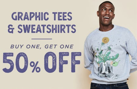 BOGO 50% Off Graphic Tees & Sweatshirts