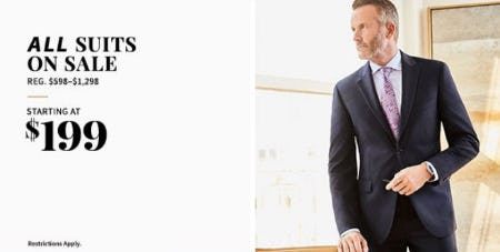 All Suits on Sale Starting at $199 from Jos. A. Bank