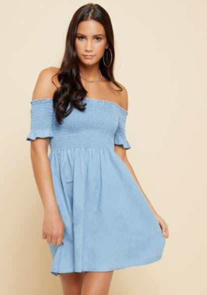 Chambray Smocked Off The Shoulder Dress