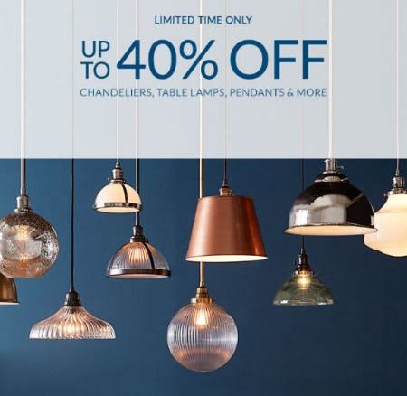 Up to 40% Off Chandeliers, Table Lamps & More from Pottery Barn