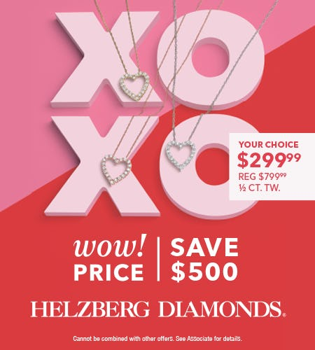 SAVE $500 on Diamond Heart Pendant from Helzberg Diamonds