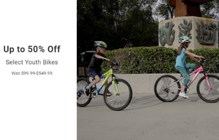 Up to 50% Off Select Youth Bikes