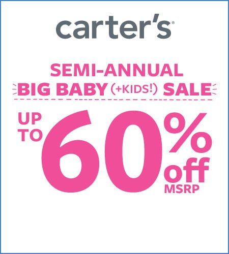 Big Baby (+Kids) Sale Up to 60% Off* from Carter's