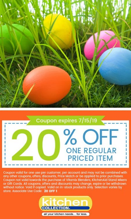 20% Off One Regular Priced Item from Kitchen Collection