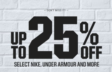 Up to 25% off Select Nike, Under Armour & More from Dick's Sporting Goods