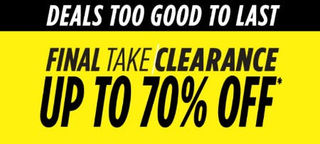 Final Take Clearance up to 70% Off