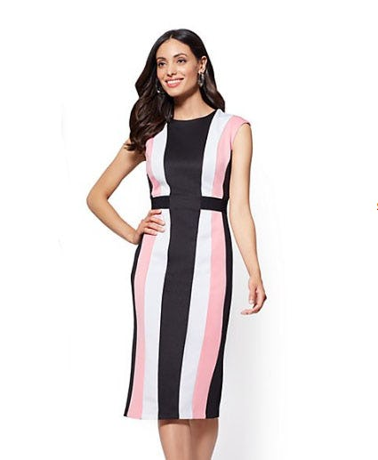 Blue Colorblock Sheath Dress from New York & Company