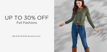 Up to 30% Off Fall Fashions