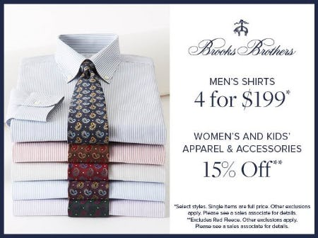 MEN'S SHIRTS 4 FOR $199 from Brooks Brothers