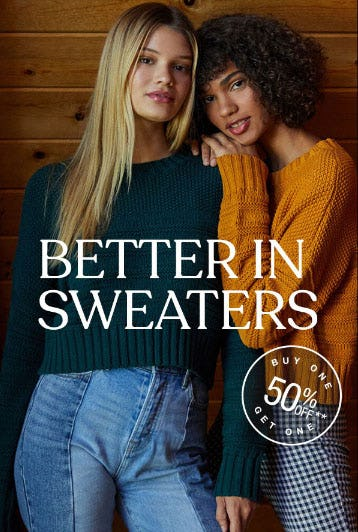 BOGO 50% Off Sweaters