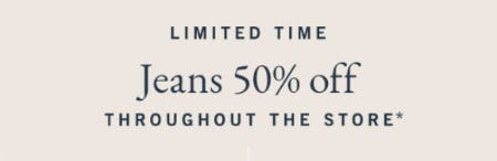 Jeans 50% Off Throughout The Store from Abercrombie & Fitch