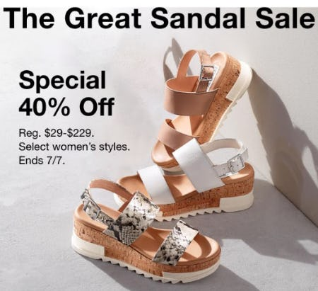 40% Off The Great Sandal Sale from macy's