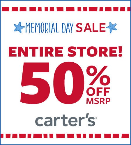 Memorial Day Sale Entire Store 50% Off* from Carter's