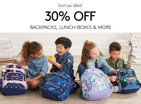 30% Off on Backpacks, Lunch Boxes & More from Pottery Barn Kids