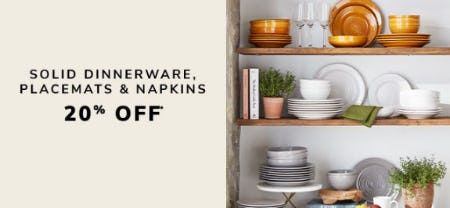20% Off Solid Dinnerware, Placemats & Napkins from Pier 1 Imports