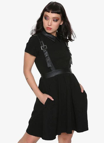 Black Faux Leather Harness Dress from Hot Topic