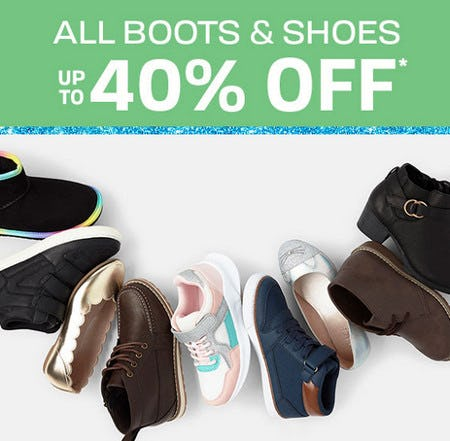 All Boots & Shoes Up to 40% Off from The Children's Place