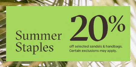 20% Off Selected Sandals & Handbags from ALDO Shoes