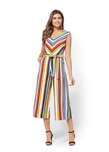 Stripe V-Neck Culotte Jumpsuit