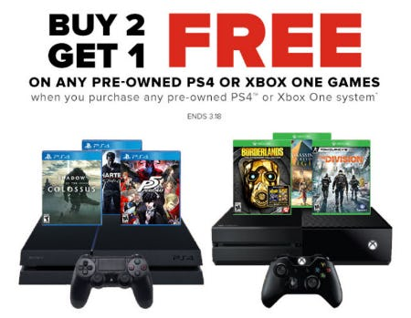 B2G1 Free Pre-Owned PS4 or XBox One Games from GameStop