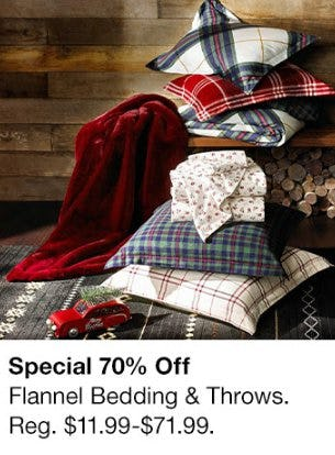 70% Off Flannel Bedding & Throws