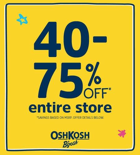 40-75% Off* Entire Store from Oshkosh B'gosh