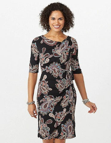 Paisley Faux Wrap Dress from Dress Barn, Misses And Woman
