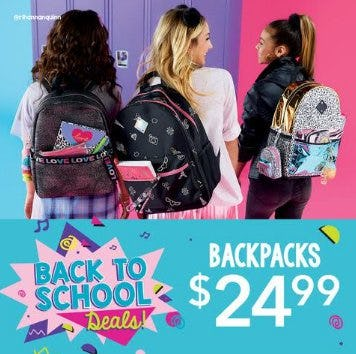 Backpacks $24.99 from Claire's