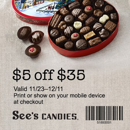 $5 off $35! from See's Candies