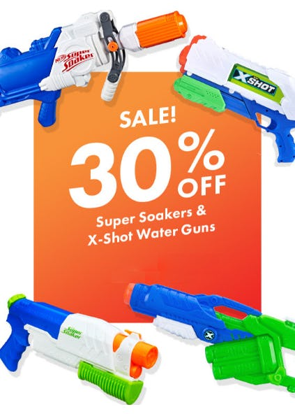 30% Off Super Soakers & X - Shot Water Guns from Party City
