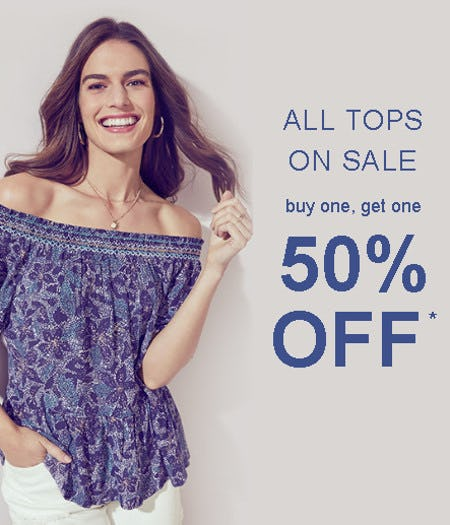 All Tops on Sale Buy One, Get One 50% Off