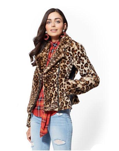 Faux-Fur Leopard-Print Moto Jacket from New York & Company
