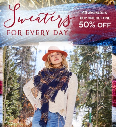 BOGO 50% Off on All Sweaters from Altar'd State