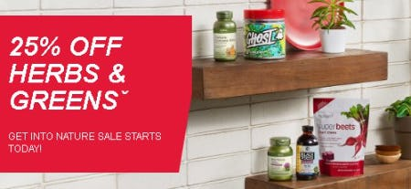 25% Off Herbs & Greens from GNC