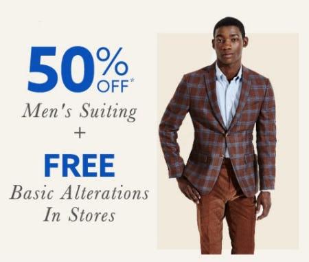 50% Off Men's Suiting