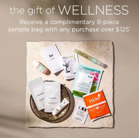 Receive a Complimentary 8-Piece Sample Bag with any Purchase Over $125 from Bluemercury