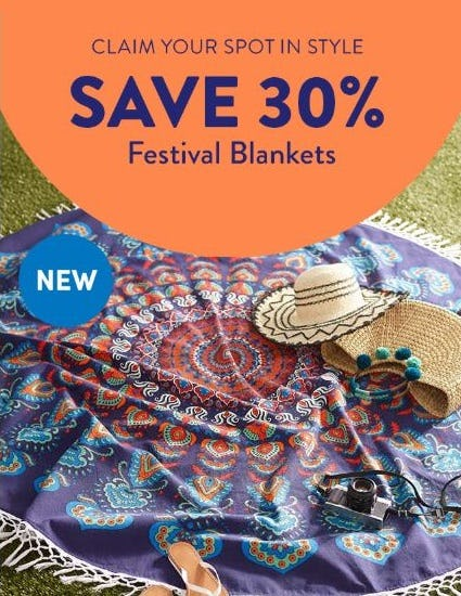 30% Off Festival Blankets from Cost Plus World Market